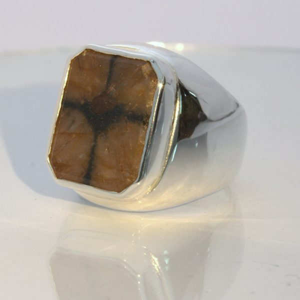 Chiastolite Cross Andalusite 13 carat Gem Silver Gents Ring Design 52 size 9.25