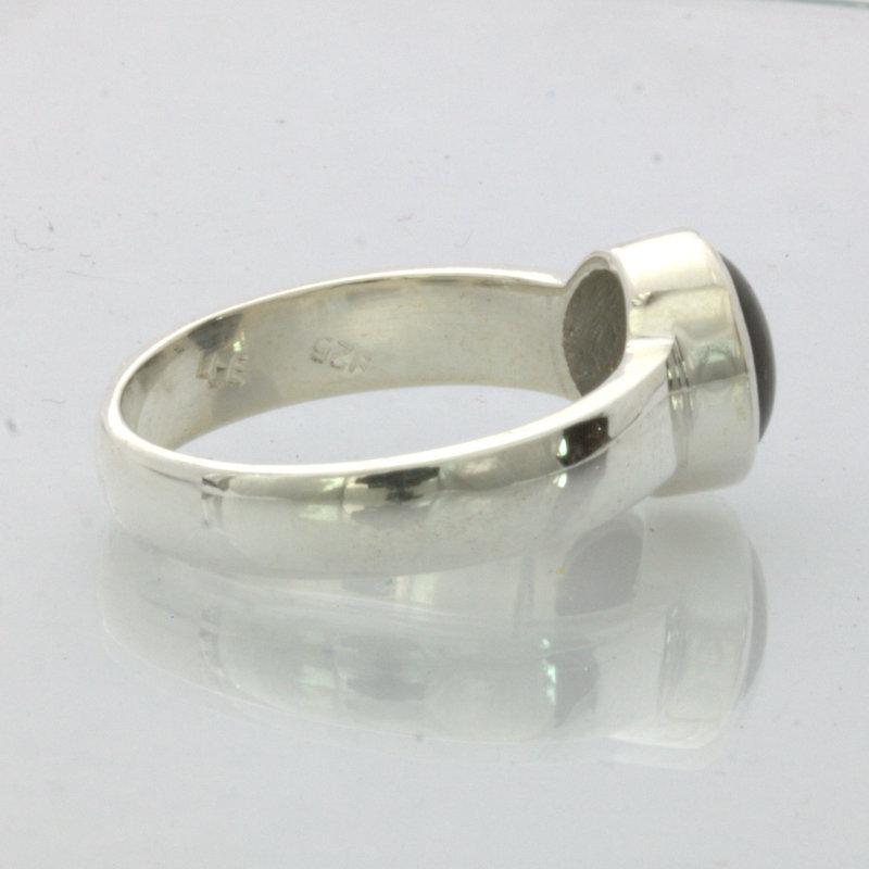 Double Star Black Thai Sapphire Gemstone Silver Gents Ring Design 530 size 8.5