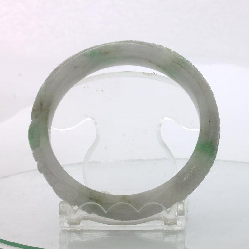 Jade Bangle Dragon Phoenix Carved Grade A Jadeite Stone Bracelet 6.8 inch 55 mm