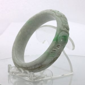 Jade Bangle Dragon Phoenix Carved Grade A Jadeite Stone Bracelet 7.05 inch 57 mm
