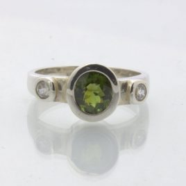 Ring Green Tourmaline White Zircon Silver Three Stone Unisex Design 162 Size 7