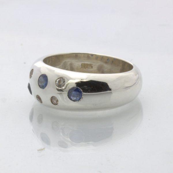Ring Blue Sapphire White Sapphire Handmade 925 Silver Unisex Design 313 Size 7
