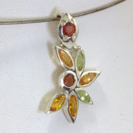 Pendant Red Yellow Orange Sapphire Peridot Ladies 925 Silver Floral Design 264