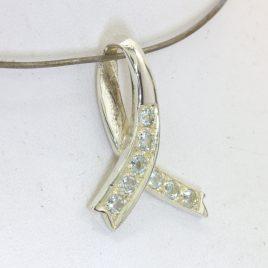 Pendant Goshenite Aquamarine Handmade Silver Unisex Awareness Ribbon Design 97