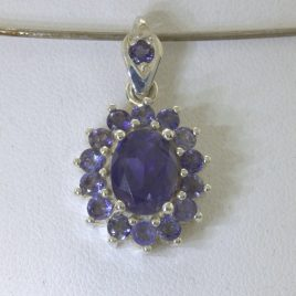 Pendant Iolite Blue Violet Gemstones 925 Silver Ladies Halo Dangle Design 147