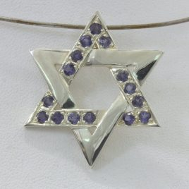 Pendant Iolite Gemstones Six Point Star David Handmade Silver Unisex Design 322