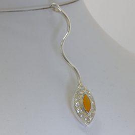 Pendant Orange Fire Opal White Topaz Halo Long Wavy Silver Unisex Design 267