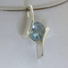 Pendant Green Blue 10x8 Aquamarine Handmade 925 Silver Unisex Flair Design 132
