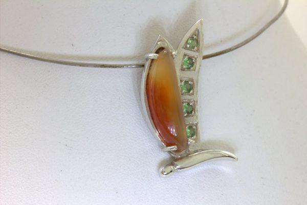 Pendant Butterfly Orange Carnelian Green Tsavorite Garnet 925 Silver Design 476