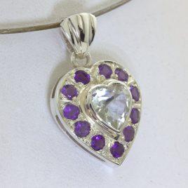 Pendant White Topaz Heart Purple Amethyst Halo Silver Ladies Dangle Design 259
