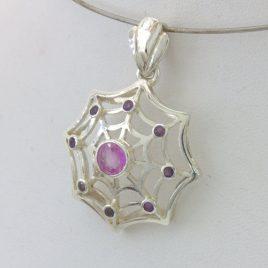 Pendant Pink Sapphire Purple Amethyst Silver Unisex Dangle Spider Web Design 370