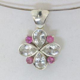 Pendant White Topaz Pink Spinel Ladies Handmade 925 Silver Floral Art Design 60