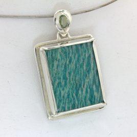 Pendant Square Teal Amazonite Green Sapphire Unisex Handmade Silver Design 263
