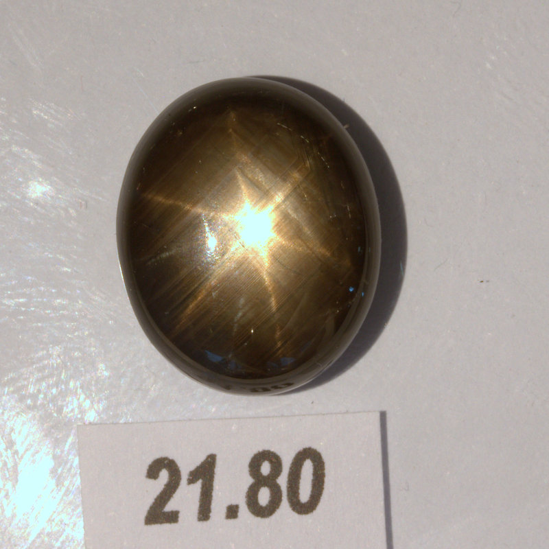 Thai Star Sapphire 17x14 mm Oval Cab Six Points Natural Untreated 21.80 carat
