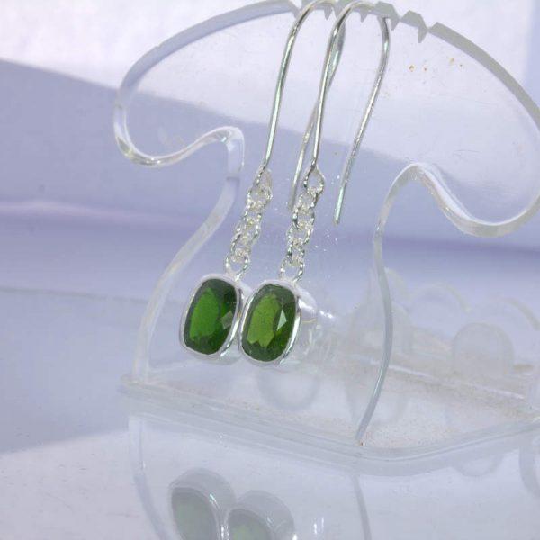 Earrings Pair Green Chrome Diopside Gems Silver Ladies Hook Dangle Design 290
