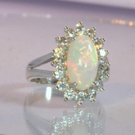 Ladies Ring Welo Opal White Sapphire Handmade Sterling Halo Design 54 size 6.75