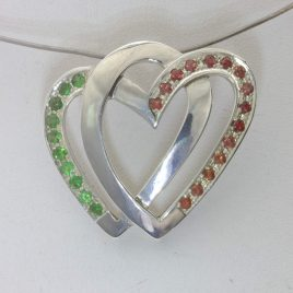 Pendant Infinity Hearts Eternity Symbol Red Sapphire Green Tsavorite Design 462