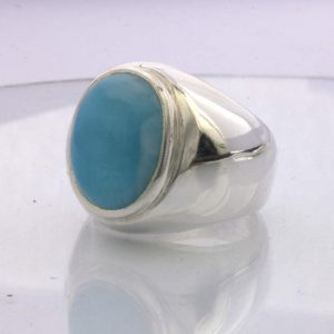 Ring Larimar Ocean Blue Green Caribbean Gemstone Silver Gents Design 52 size 9