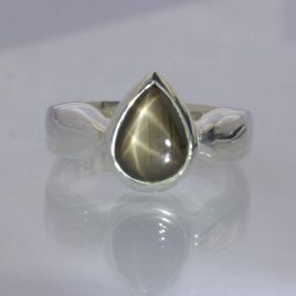 Double Star Black Thai Sapphire Gemstone Silver Gents Ring Design 595 size 8.75