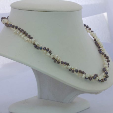 Pearl Necklace Double Strand Cultured Black White Knotted Silk 18 Inch Princess
