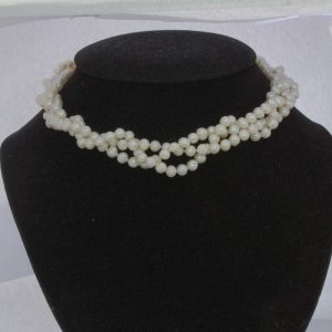 Pearl Necklace Cultured 5.5 mm Cream White Knotted Silk 15 Inch Triple Strand