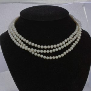 Pearl Necklace Cultured 5.5 mm Cream White Knotted Silk 15.5 Inch Triple Strand