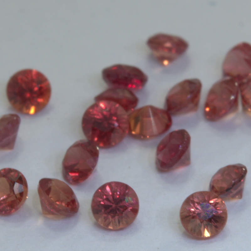 Sapphire One Red Faceted 2 mm Diamond Cut Round VS Accent Gems .05 carat each