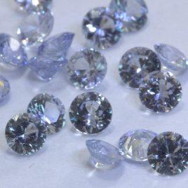 Ceylon Sapphire One Light Blue 3 mm Faceted Diamond Cut Round Average .11 carat