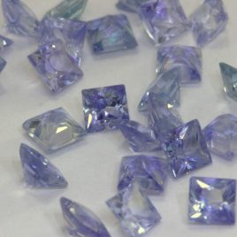 One Light Blue Ceylon Sapphire 2.5mm Faceted Princess Square Average .12 carat