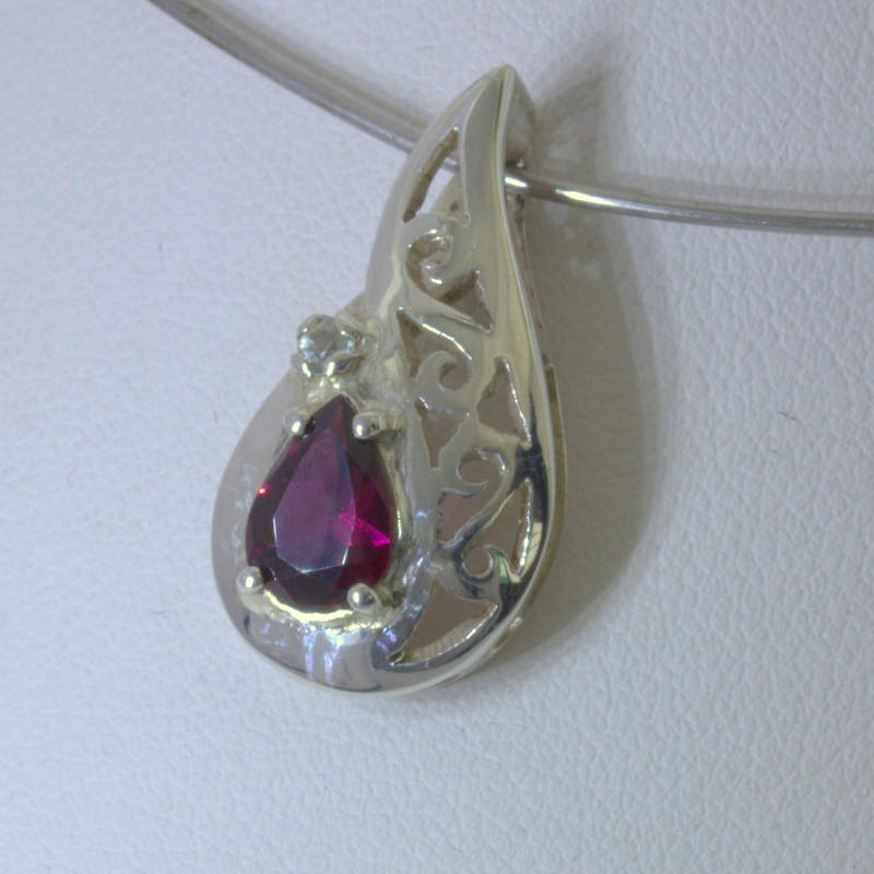 Pendant Rhodolite Garnet White Sapphire Silver Ladies Filigree Pear Design 130