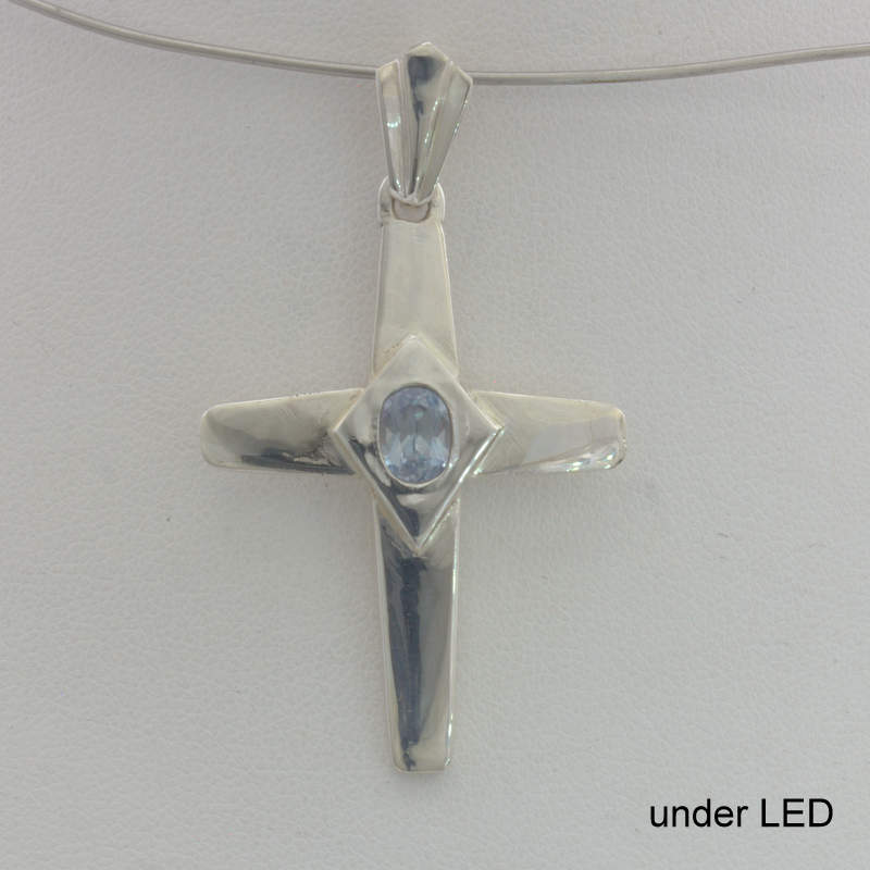 Cross Pendant Color Change Sapphire Handmade Silver Unisex Christian Design 75