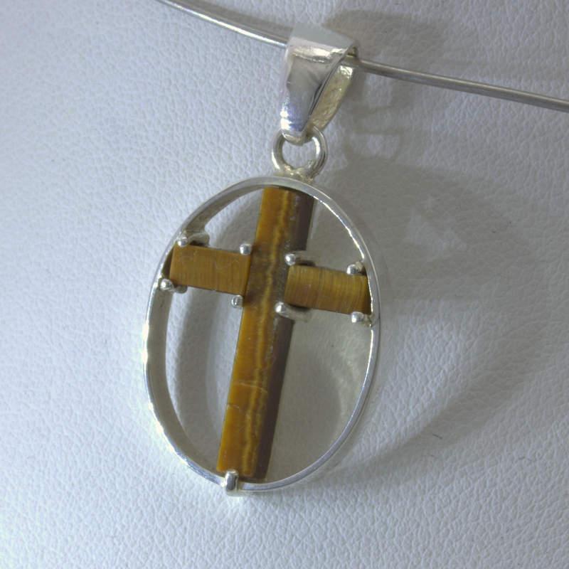 Pendant Tiger's Eye Gemstone Christian Cross 925 Silver Unisex Oval Design 336