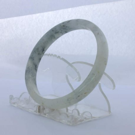Jade Bangle Burmese Jadeite Comfort Cut Natural Stone Bracelet 9.8 inch 79.5 mm
