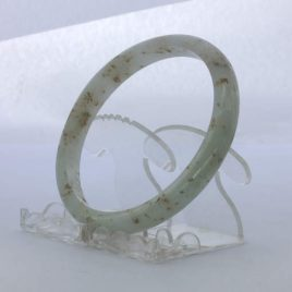 Jade Bangle Burmese Jadeite Comfort Cut Natural Stone Bracelet 10 inch 81 mm