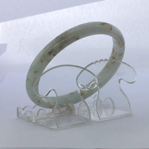 Jade Bangle Burmese Jadeite Comfort Cut Natural Stone Bracelet 10 inch 81 mm