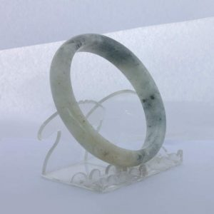 Jade Bangle Burmese Jadeite Comfort Cut Natural Stone Bracelet 9.8 inch 79.6 mm