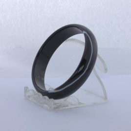 Bangle Black Banded Quartz Agate Striped Natural Stone Bracelet 7.2 inch 58 mm