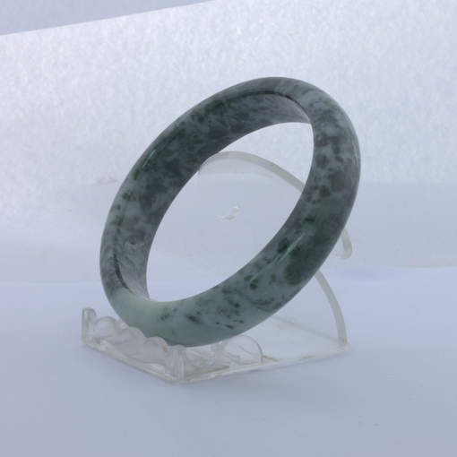 Jade Bangle Burmese Jadeite Comfort Cut Natural Stone Bracelet 7.6 inch 62 mm