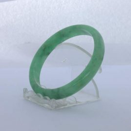 Jade Bangle Burmese Jadeite Comfort Cut Color Enhanced Bracelet 8 inch 65 mm