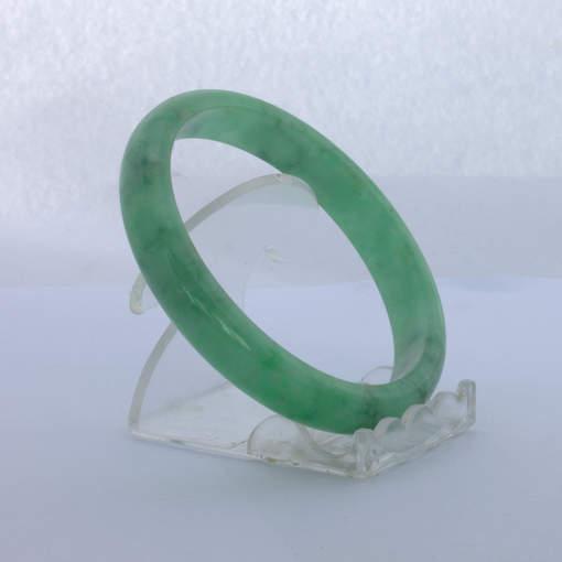 Jade Bangle Burmese Jadeite Comfort Cut Color Enhanced Bracelet 8 inch 65 mm