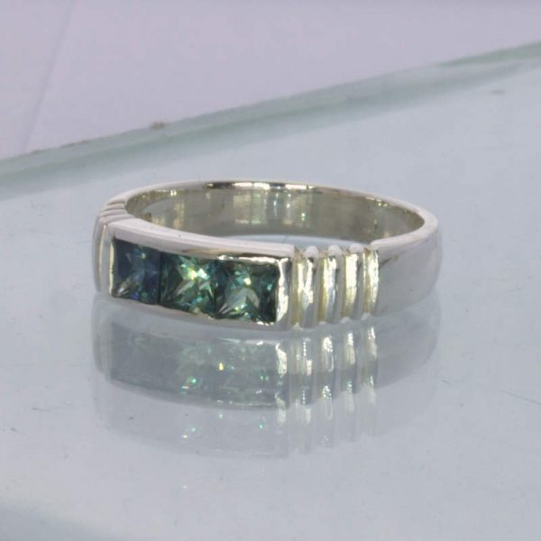 Ring Australian Blue Green Sapphire Silver size 6.25 Channel Set Unisex Design 6