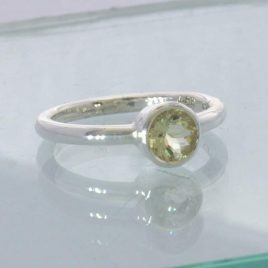Ring Yellow Orthoclase Feldspar 925 Silver size 8 Solitaire Stackable Design 705
