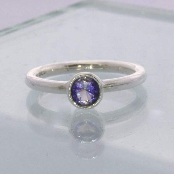 Ring Blue Violet Iolite Round Gem Silver size 7 Solitaire Stackable Design 705