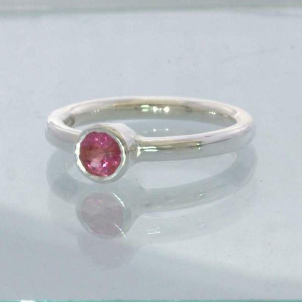 Ring Pink Spinel Round Burma Gem Silver size 5.5 Solitaire Stackable Design 705