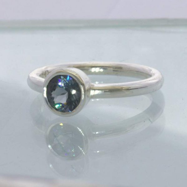Ring Indicolite Blue Tourmaline Silver size 7.25 Solitaire Stackable Design 705