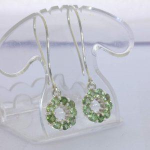 Earrings Green Sapphire Silver Eternity Infinity Dangle Circle Hook Design 135