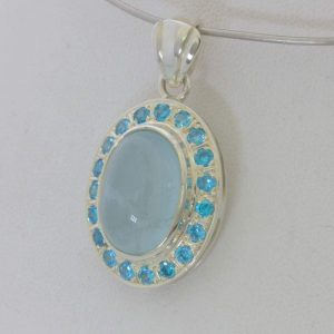 Pendant Aquamarine Cabochon Swiss Blue Topaz Halo 925 Silver Ladies Design 259
