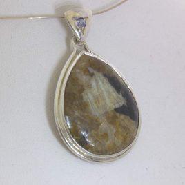 Pendant Pyrite Cabochon Pear Blue Sapphire Handmade Sterling Unisex Design 263