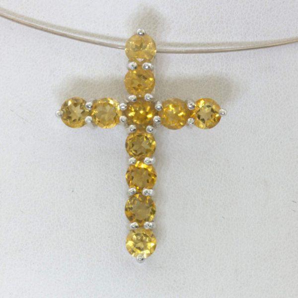 Pendant Citrine Burma Yellow Quartz 925 Silver Christian Cross Unisex Design 69