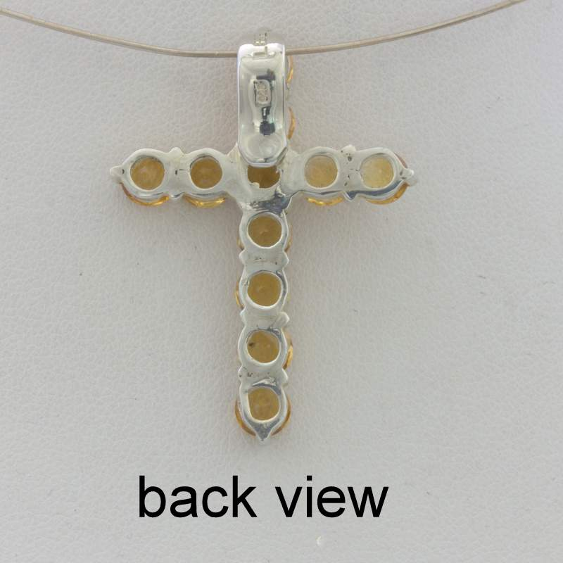 Pendant Citrine Burma Yellow Quartz 925 Silver Christian Cross Unisex Design 69